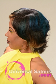 Right Side View of a Bob Hairstyle for Black Women with Blonde Highlights from Alisa Green