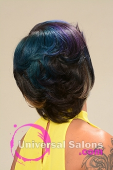 Back View of a Bob Hairstyle for Black Women with Blonde Highlights from Alisa Green