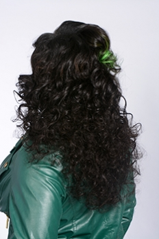 Back Long Black Hairstyle with Hair Color
