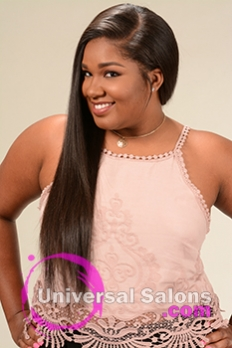 Left Side View of a Long Hairstyle for Black Women from Yoshie Brown