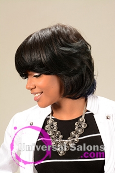 Left Side View of a Mid Length Bob Hairstyle for Black Women from Melissa Green