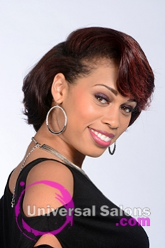 Right Side View of a Short Hairstyle with Red Hair Color for Black Women by Tanisha Holland