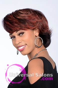 Left Side View of a Short Hairstyle with Red Hair Color for Black Women by Tanisha Holland