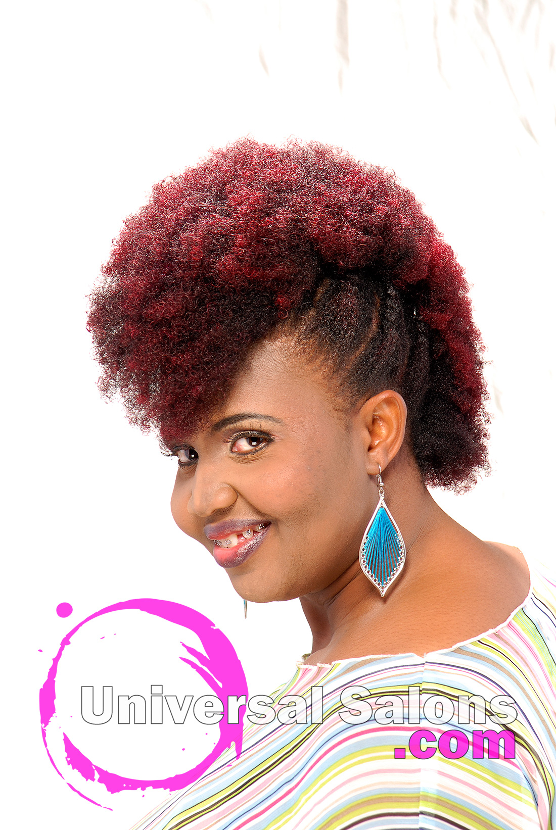Natural Mohawk With Plumb Ombre Color From Kenya Young