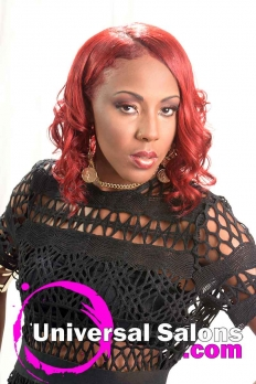 Mid-Length Vherry Red Hairstyle from Katina King (2)
