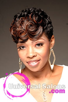 Natasha Johnson S Ocean Curls Short Hairstyle With Hair Color And Pin