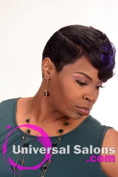 Short Hairstyle with Cobalt Blue Highlights from Kenya Young (3)