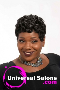 Front View of Short Pin Curls Hairstyle for Black Women from Octavia Bonnette (2)