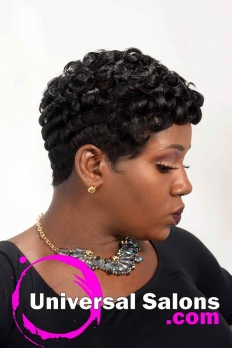 Right Side View of Short Pin Curls Hairstyle for Black Women from Octavia Bonnette (4)