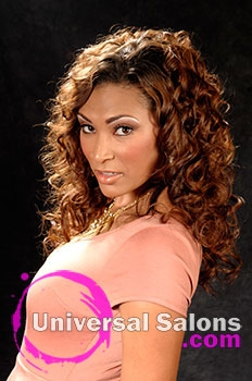 LaTasha Carrol's Long Hairstyle with Hair Color and Curls