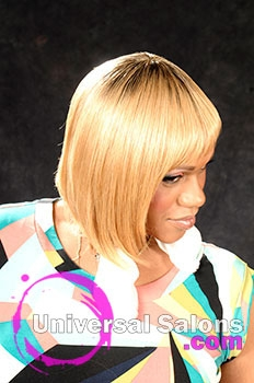 Regina Conely's Medium Length Hairstyle with Blond Hair Color