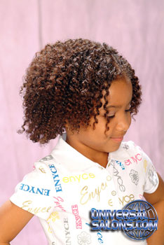 Right View: Natural Curly Bob black Hairstyle for Little Girls