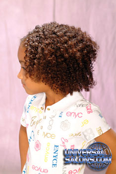Left View: Natural Curly Bob black Hairstyle for Little Girls
