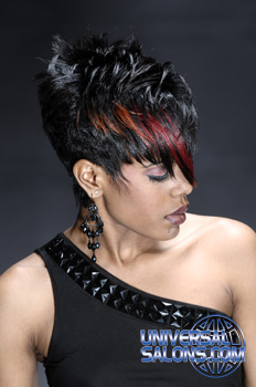 Short Haircut with Layers Hairstyle with Red Highlights from Deirdre Clay