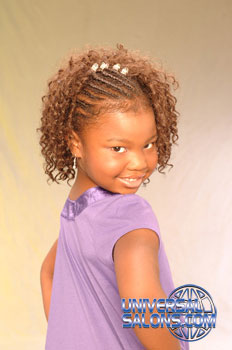 Right Side: Little Girl with Cornrows and Tight Curls