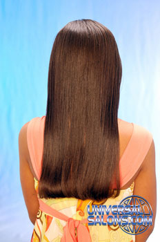 Back View: Long Silk Press Hairstyle for Little Girls