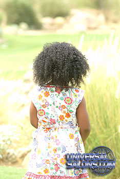 Back View of Little Girl Wearing Tight Afro Curls