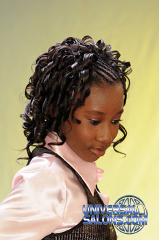 Right View: Cornrows Curly Bob Hairstyle