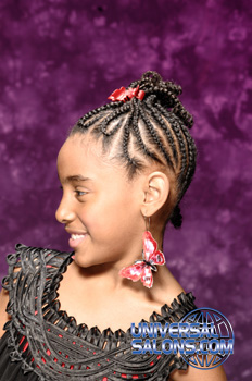 Right Side View of a Model Wearing Cornrows and a Braided Twist
