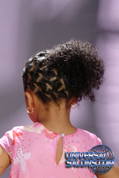 Back View: Cornrow Braid with Afro Ponytail