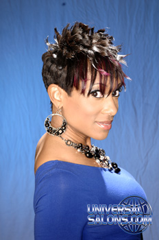 Short Hairstyle with Spikes and Purple Highlights from Wendy Perry