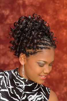 Model Looking Down to the Left: Updo With Beautiful Curls Black Hairstyles for Little Girls