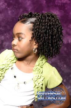 Right View: Pom Pom Pigtail Twists Black Hairstyles for Little Girls