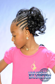 Right View: Cornrows With Two Curled Pig Tails