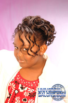 Right Side: Back View: Curled Updo Black Hairstyles for Little Girls