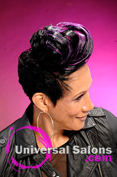 "Leslie Brown's ""Biker Diva"" Short Hairstyle with Hair Color"