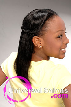 Paulette Edwards' Long Hairstyle for Kids – Twisted Half Updo