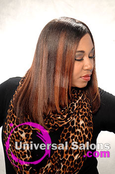"Pamela Webster's ""Flat Doobie Wrap"" Long Hairstyle with Highlights"