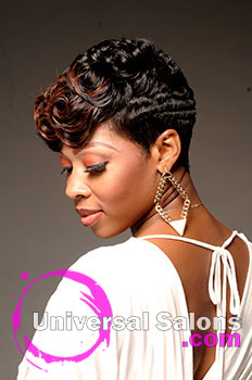 """Natasha Johnson's """"Ocean Curls"""" Short Hairstyle with Hair Color and Pin Curls"""