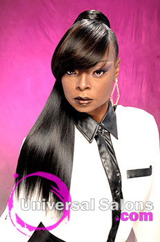 Marcus Doss' High Ponytail with a Chunky Layered Bang