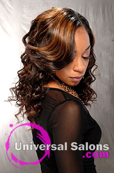 """Deirdre Clay's """"Water Wave"""" Long Hairstyle with Hair Color and Curls"""