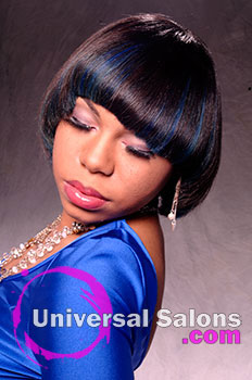 Bob Hairstyle with Royal Blue Highlights from Tenika Brentley