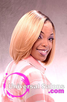 "Shakia Allen's ""Blonde Bomb Shell"" Medium Bob Hairstyle"