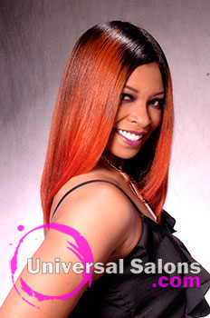 "Dre' Ramseur Blanton's ""Autumn Sunrise"" Long Hairstyle with Color"
