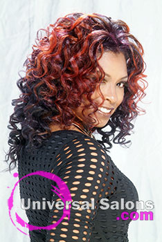 Long Curly Black Hairstyle with Hair Color by Dre' Ramseur Blanton
