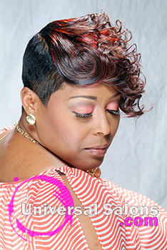 Short Black Hairstyle with Color and Curls by Kenya Young