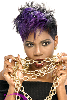 Short Vivid Violet Hairstyle for Black Women by Deirdre Clay