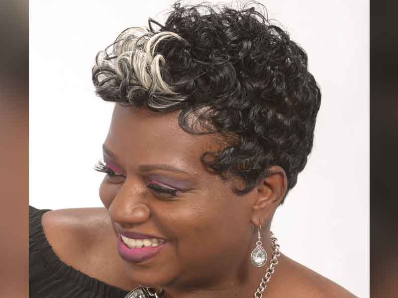 Short Hairstyle for Black Women with Blonde Accent Color