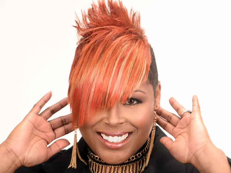Short Hairstyle with Copper Hair Color from Kenya Young