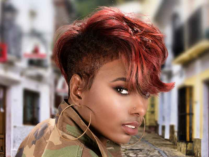 Short Hairstyle with Tapered Sides and Hair Color