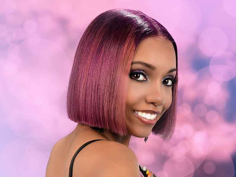 Blunt Bob Haircut with Bubble Gum Hair Color from Deirdre Clay