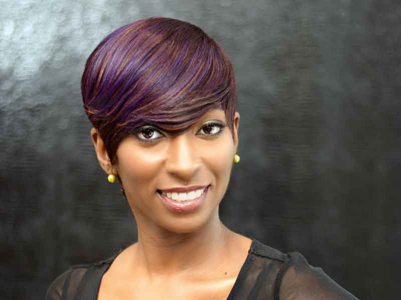 Short Quick Weave Haircut with Hair Color from K'Shears