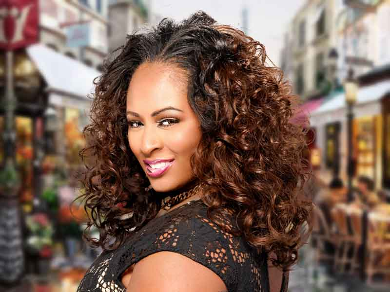 Long Curly Weave Hairstyle with Hair Color from Velesia Screen