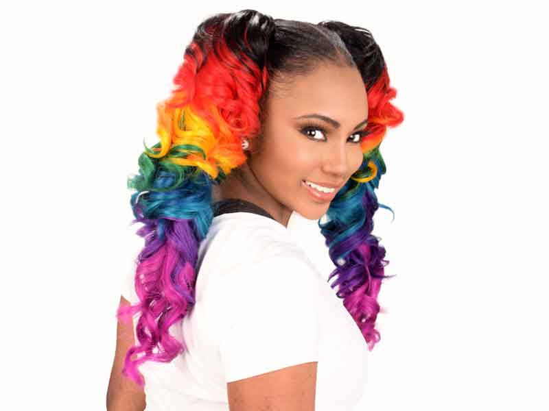 Check Out This Rainbow Cascade Ponytails from Jameka Davenport