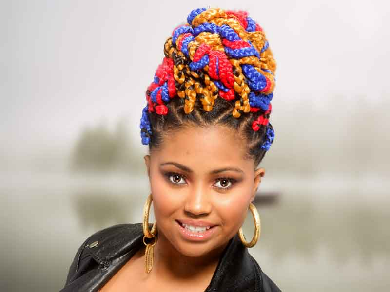 Bold Multi-Colored Box Braids Hairstyle from Shae Thompson