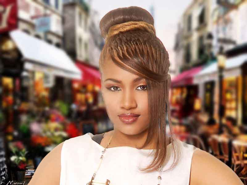 Flirty Buns with Bangs Hairstyle from Pamela Webster